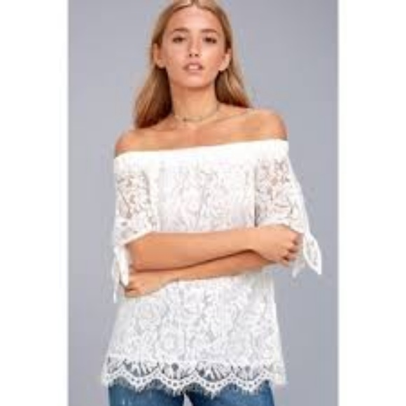 e28a2cf798eeb6 Lulu s Tops - LULUS ETHEREAL VIEW IVORY LACE OFF SHOULDER TOP XL